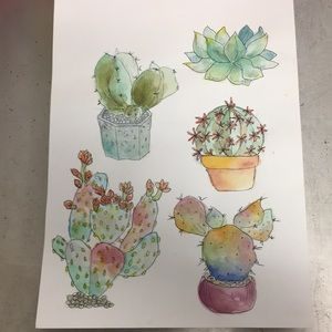 Watercolor painting of plants
